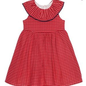 2pc Red striped tank dress with navy and white